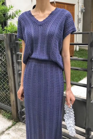 BACKORDER - Trina Knit Top With Skirt Set In Royal Blue