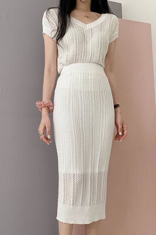 BACKORDER - Trina Knit Top With Skirt Set In White