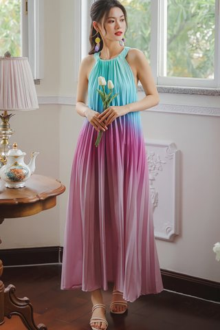 INSTOCK - Angelica Pleat Ombre Maxi Dress In Pink