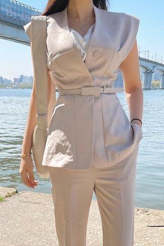 BACKORDER - Aria V-Neck Top With Pant Set In Beige