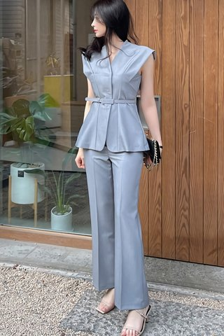 BACKORDER - Aria V-Neck Top With Pant Set In Grey