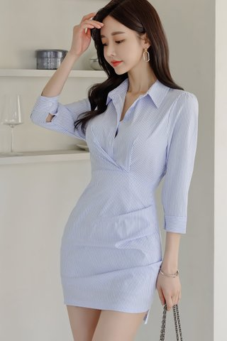 BACKORDER - Ashlie Collar Pinstripe Shirt Dress