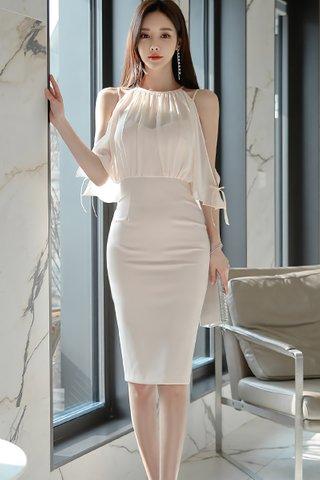 BACKORDER - Donna Cold Shoulder Mesh Overlay Dress