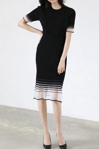 INSTOCK - Fanelia Knit Mesh Hem Dress In Black