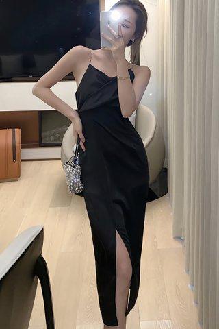 BACKORDER - Jomay Sleeveless Side Slit Dress In Black