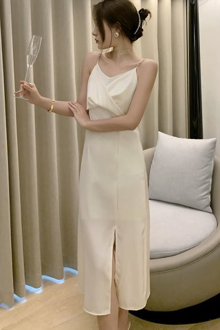 INSTOCK - Jomay Sleeveless Side Slit Dress In Cream