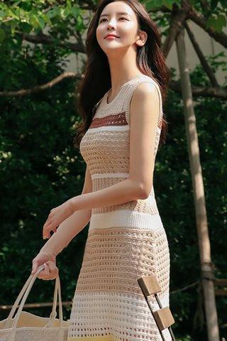 INSTOCK - Lynne Sleeveless Eyelet Knit Dress In Khaki