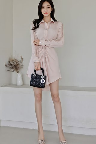 BACKORDER - Maurice Front Ruched Asymmetrical Hem Dress In Pale Pink