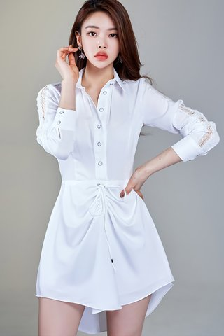 BACKORDER - Maurice Front Ruched Asymmetrical Hem Dress In White