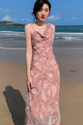 BACKORDER - Morgan Cowl Neck Abstract Midi Dress
