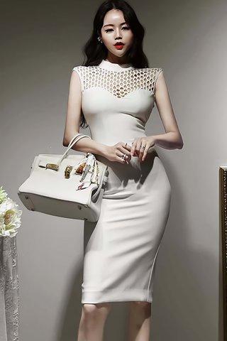 BACKORDER - Scarlett Sleeveless Hexagon Net Dress In White