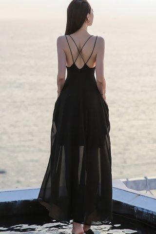 BACKORDER - Amira Criss Cross Maxi Dress In Black