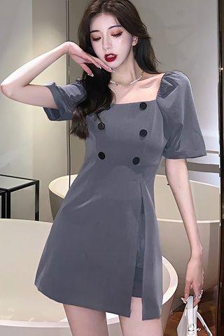 BACKORDER - Calene Slit Dress With Short Set In Grey