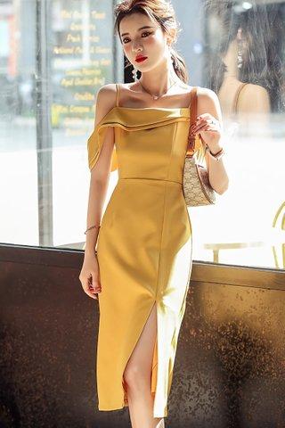BACKORDER - Elza Cold Shoulder Side Slit Dress In Yellow