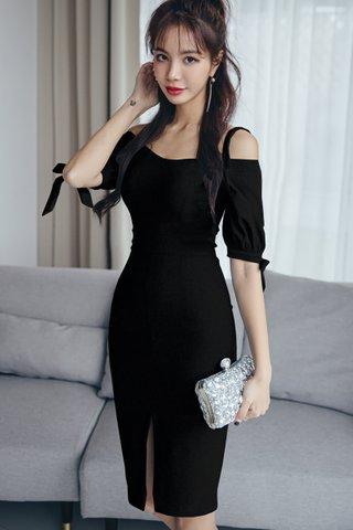 BACKORDER - Katie Cold Shoulder Slit Dress In Black