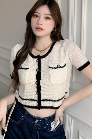 BACKORDER - Kianna Single Breasted Knit Crop Top In White