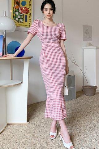 BACKORDER - Krelin Square Neck Gingham Dress