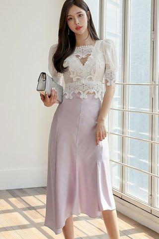 BACKORDER - Michele Crochet Mesh Top With Asymmetrical Skirt Set