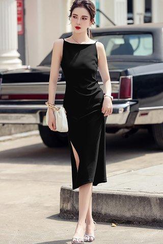 BACKORDER - Nelie Halter Neck Side Slit Dress In Black