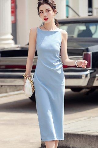 BACKORDER - Nelie Halter Neck Side Slit Dress In Sky Blue