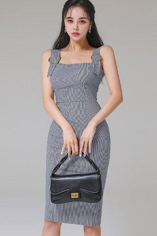 BACKORDER - Nolvia Gingham Buckle Strap Dress