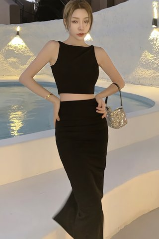 BACKORDER - Patricia Sleeveless Crop Top With Skirt Set In Black
