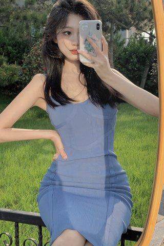 INSTOCK - Serina Midi Knit Dress In Blue