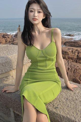 INSTOCK - Serina Midi Knit Dress In Lime Green