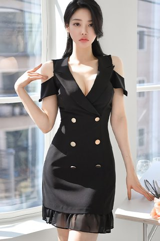 BACKORDER - Stefie Cold Shoulder Double Breasted Dress In Black