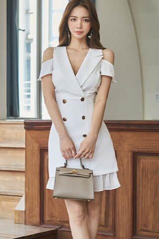 BACKORDER - Stefie Cold Shoulder Double Breasted Dress In White