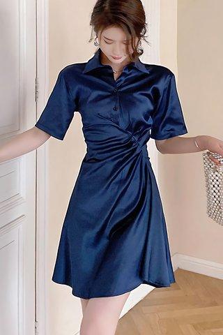 BACKORDER - Alara Short Sleeve Collar Gathered Dress In Blue