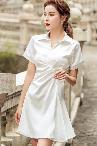 BACKORDER - Alara Short Sleeve Collar Gathered Dress In White