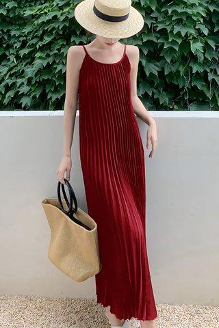 BACKORDER - Dorisa Pleat Maxi Dress In Wine Red