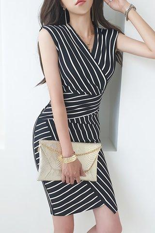 BACKORDER - Eugenia Stripe Asymmetrical Dress In Black