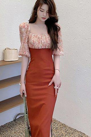 BACKORDER - Karelle Floral Side Slit Dress In Brick Red