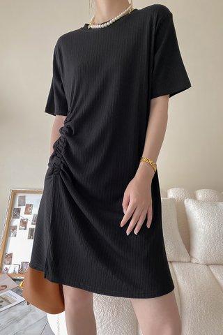 BACKORDER - Katherine Pleat Ruched Dress In Black