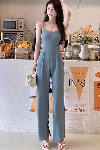 BACKORDER - Meisey Cut Out Jumpsuit In Ash Blue