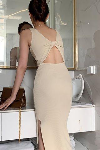 BACKORDER - Pamela Back Twist Knit Dress In Cream