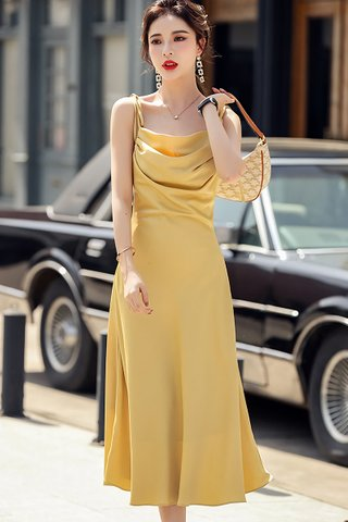 BACKORDER - Rohaida Ruched Ribbon TIe Strap Dress In Yellow