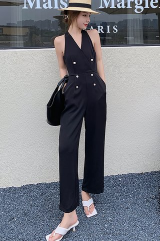 BACKORDER - Rosay B-Neck Double Breasted Jumpsuit In Black