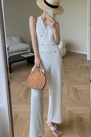 BACKORDER - Rosay B-Neck Double Breasted Jumpsuit In White