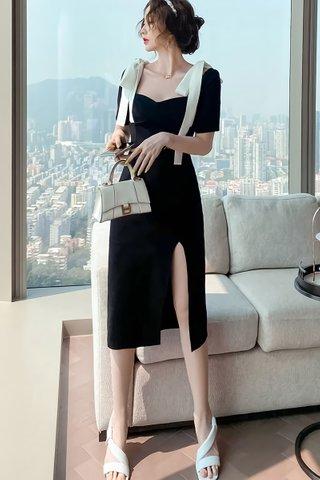 BACKORDER - Rosca Shoulder Ribbon Slit Dress