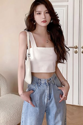 BACKORDER - Arvin Square Neck Crop Top In White