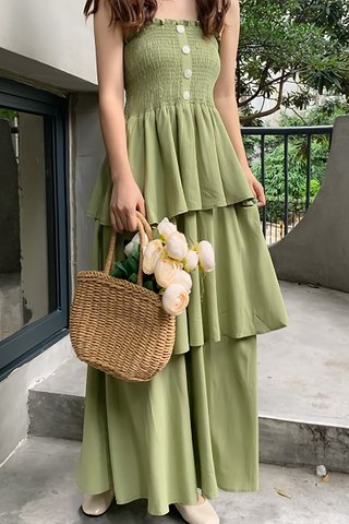 BACKORDER - Edith Tier Maxi Dress In Lime Green