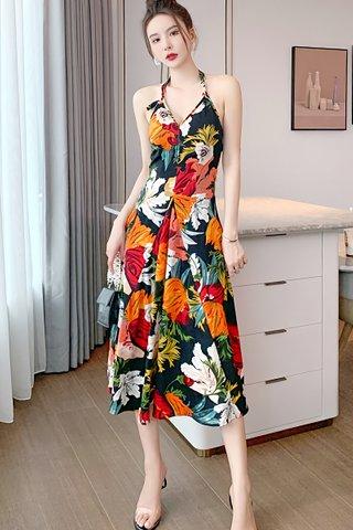 BACKORDER - Elspeth Floral Halter Neck Dress