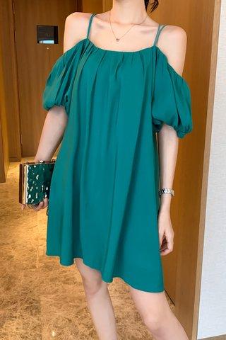 BACKORDER - Jade Cold Shoulder Puff Sleeve Dress In Teal Green