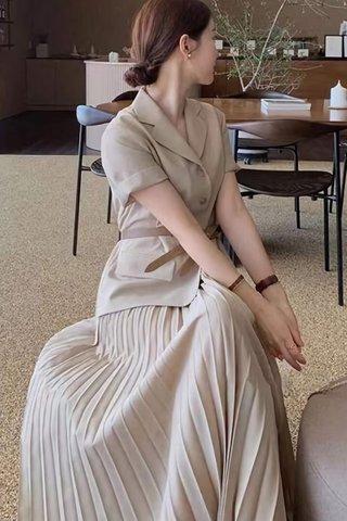 BACKORDER - Jeslyn Collar Pleat Dress In Cream