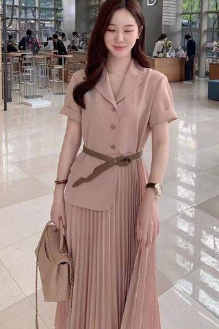 BACKORDER - Jeslyn Collar Pleat Dress In Khaki