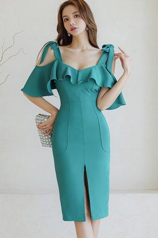 BACKORDER - Kianca Ruffle Cold Shoulder Dress In Green