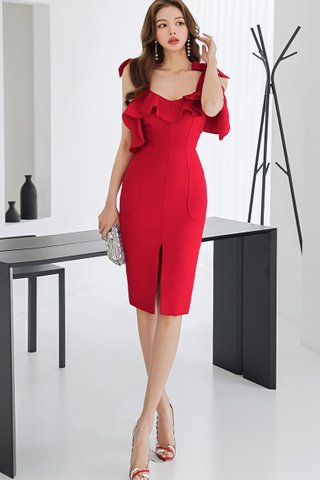 BACKORDER - Kianca Ruffle Cold Shoulder Dress In Red